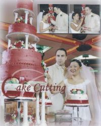 A collage of wedding photos, including wedding cake and smiling couple