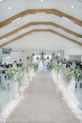 Huge church setting for a couple marrying at the altar