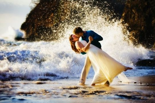 Ocean explodes after passionate kiss from Christian newlyweds