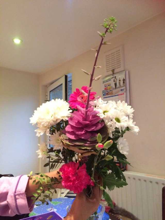 A beautiful bouquet with white hydrangea flowers in an office