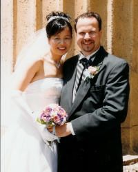 Excited Christians from California look very happy to have married