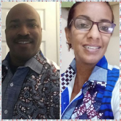 Black American Christian man smiling at beautiful Ethiopian wife while on video chat