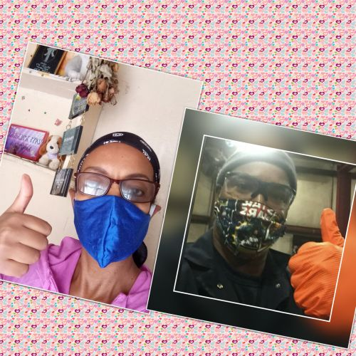 Christian Couple meeting over Zoom while giving thumbs up and wearing COVID masks