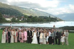A huge wedding photo in the Swiss countryside for English couple married in Switzerland