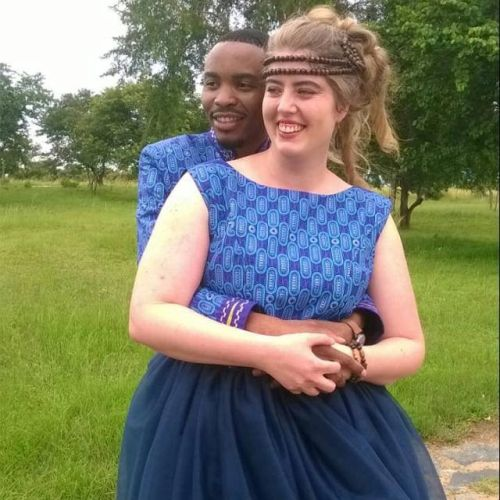 Scoggan and Nadia enjoying their traditional Zambian wedding