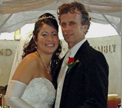 American Christian marries Canadian who smiles and leans in
