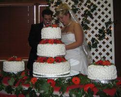 A huge wedding cake dwarfs bride and groom