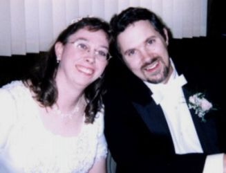 Happy Born Again Christians sitting together after marrying