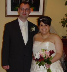 Smiling Christian couple on their wedding day